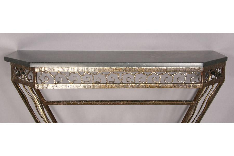 Art deco fer forge iron marble top console - Console art deco fer forge ...