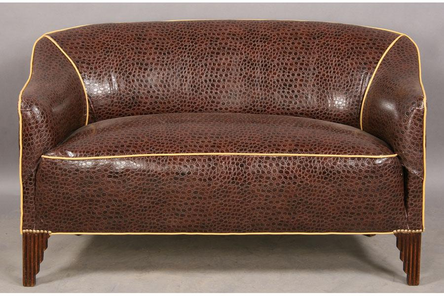 Image 1 : ART DECO SETTEE COUCH SOFA UPHOLSTERED ALLIGATOR ...