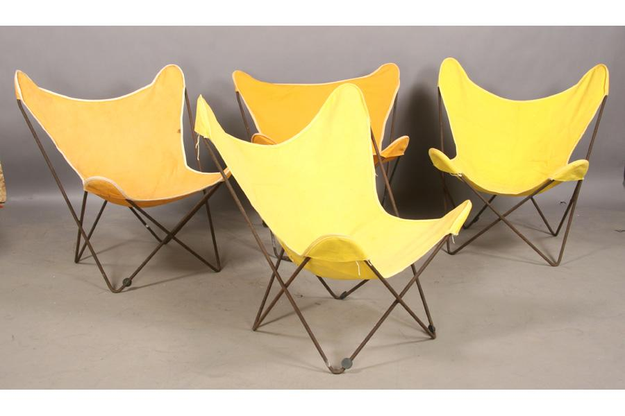 Exceptionnel SET KNOLL VINTAGE IRON BUTTERFLY CHAIRS CANVAS. Loading Zoom