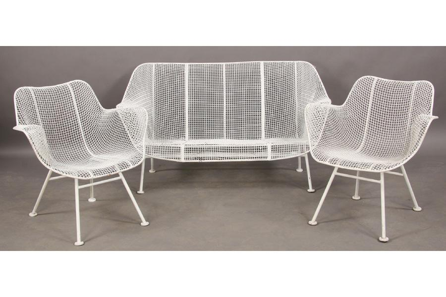 3 pc russell woodard wire garden settee chairs
