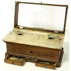 19th C. Oak and Marble cased scales with drawers