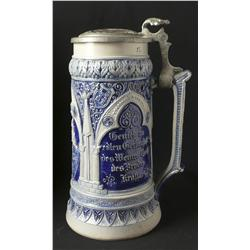 Salt glaze german stein with falcon top