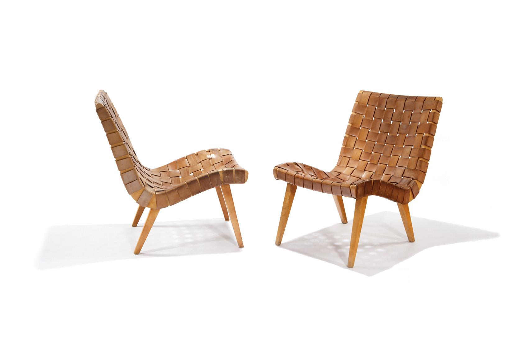 Jens Risom   Knoll   Pair Of Leather Lounge Chairs. Loading Zoom
