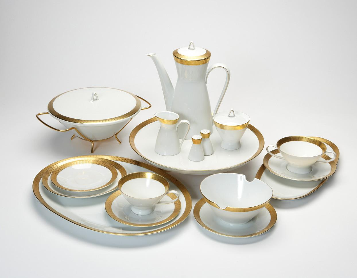 raymond loewy rosenthal porcelain and gold service. Black Bedroom Furniture Sets. Home Design Ideas