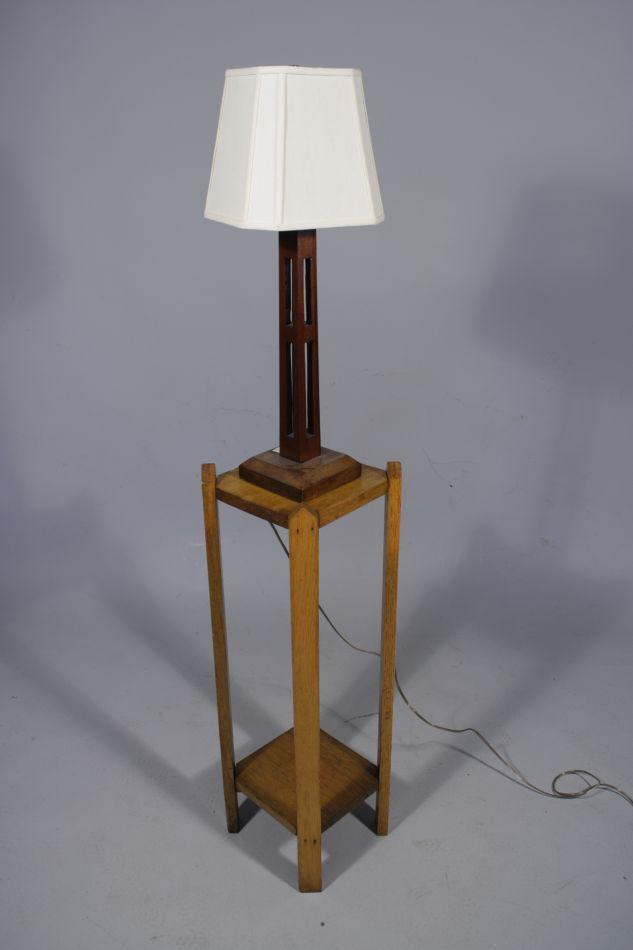 An arts and crafts style oak table and lamp for Arts and crafts style table