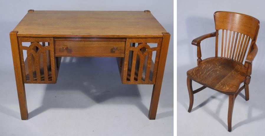 An arts and crafts style oak desk and chair for Art and craft workstation