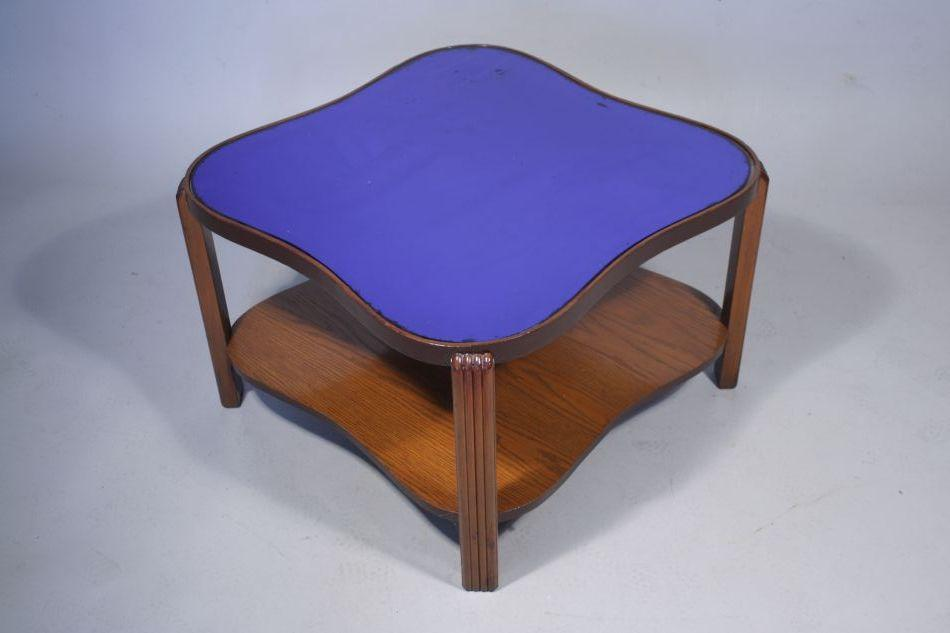 Image 1 : An Art Deco Coffee Table With Blue Mirrored Top.