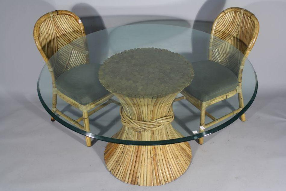 Charmant Image 1 : A McGuire Rattan And Glass Top Table With Two Rattan Chairs.