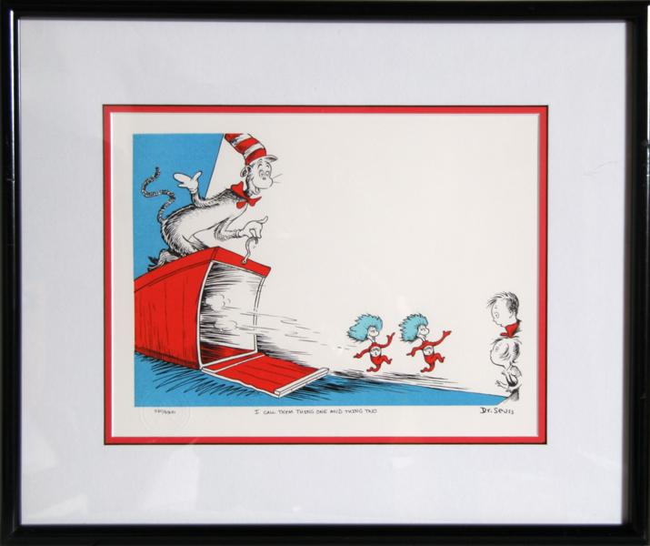 Dr Seuss Cat In The Hat Thing 1 And Thing 2 Lithograph