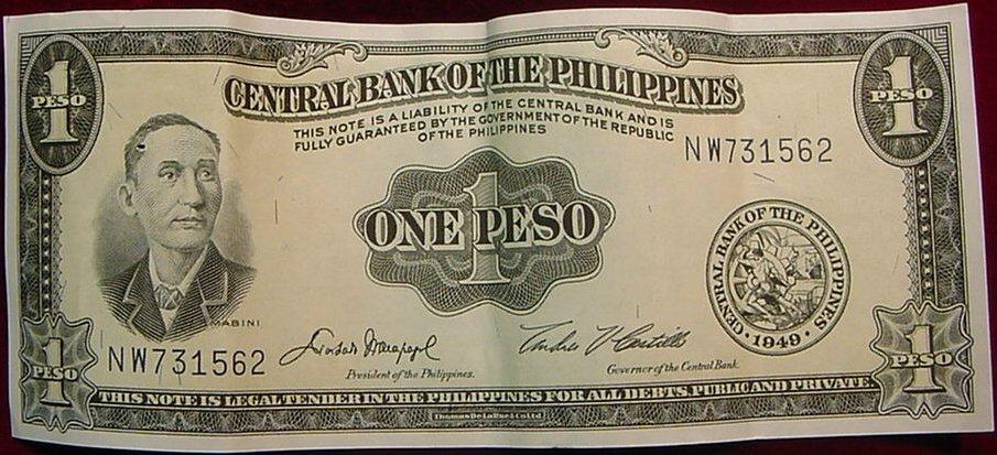 1949 Central Bank Of The Philippines Peso. AU
