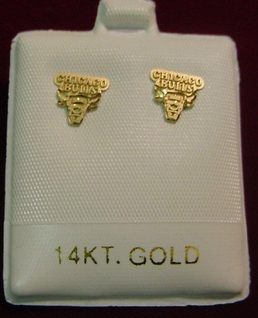 Image 1 14k Gold Licensed Chicago Bulls Earrings