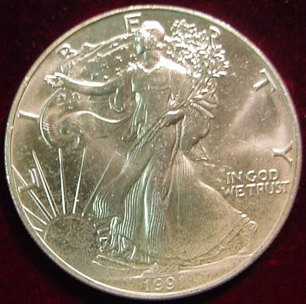 1991 American Eagle 1 Oz Fine Silver One Dollar