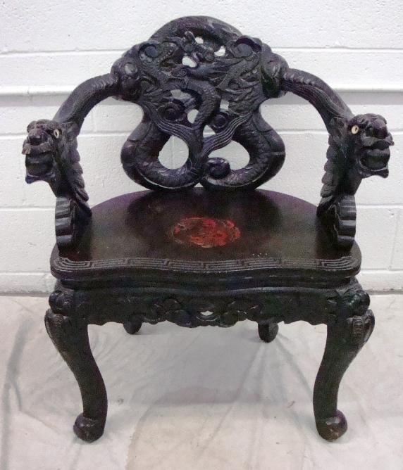 Heavily Carved Chinese Dragon Chair. Loading zoom - Heavily Carved Chinese Dragon Chair