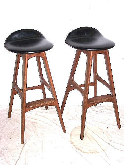 Pair Of Danish Modern Bar Stool, Attributed To Eames. Loading Zoom
