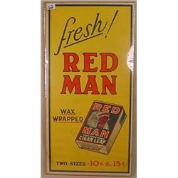 VINTAGE RED MAN CHEWING TOBACCO ADVERTISING SIGN -