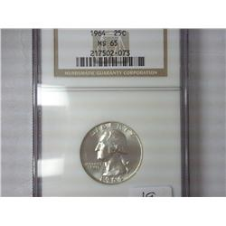 1964 Washington Silver Quarter NGC MS65