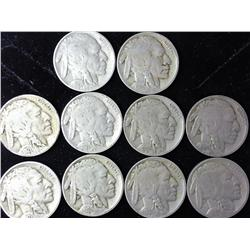 10 Assorted Buffalo Nickels From The 1920's