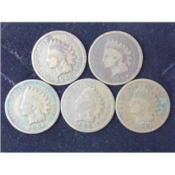 5 Assorted Indian Head Cents From 1890's