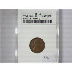1944-D/S Lincoln Cent ANACS EF45