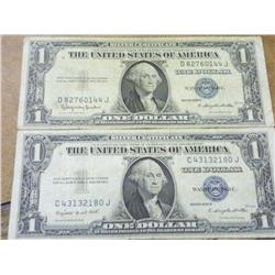 2 One Dollar Silver Certificates From 1935