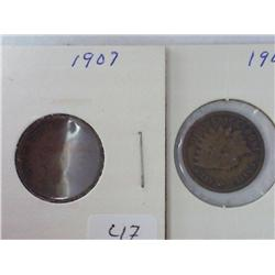 1907 And 1908 Indian Head Cents