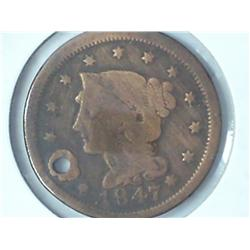 1847 US Large Cent (Holed)