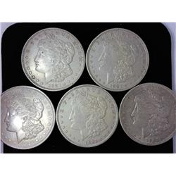 5 US Morgan Silver Dollars 1921's