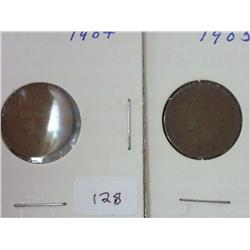 1904 And 1905 Indian Head Cents