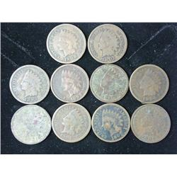 10 Assorted Indian Head Cents