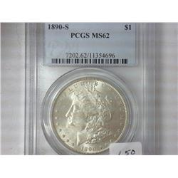 1890-S Morgan Silver Dollar PCGS MS62