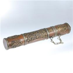 Tibetan Brass Prayer Scroll Tube (ANT-077)