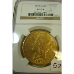 1876 $20.00 Liberty Gold Coin NGC AU53