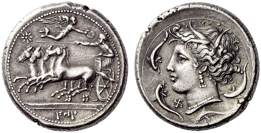 Ancient Greek Coins - Agathokles Victory on a Silver