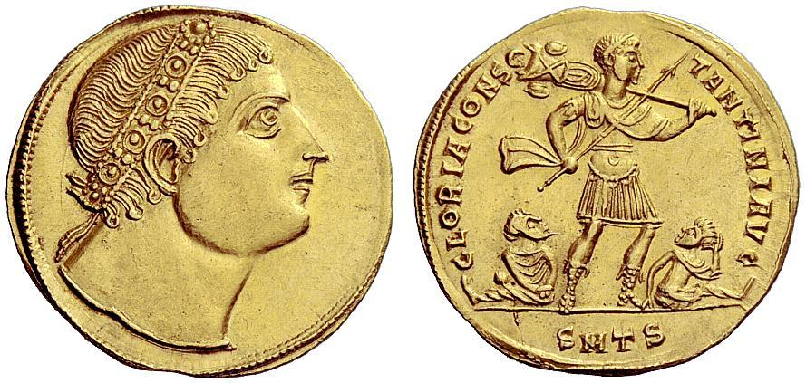 of reign i solidus constans minted golden roman the in ad emperor siscia medallion double coin stock photo