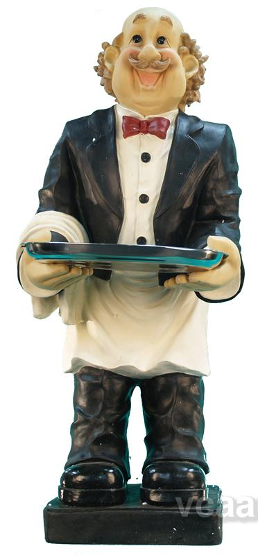 Menu Butler Statue W Serving Tray 4 Tall