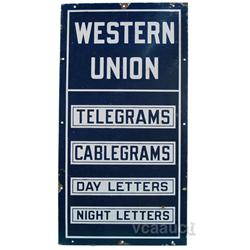 "Western Union Porcelain Sign - 18"" x 34"""