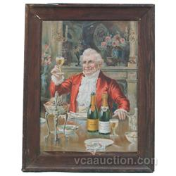 Gold Seal Wine Framed Tin Litho Sign, Depicts Man Holdi