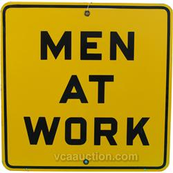 Men At Work Porcelain Sign, Yellow & Black, Mint Condit