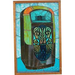 Stained Glass Window (Rock-Ola Jukebox) In Wood Box Fra