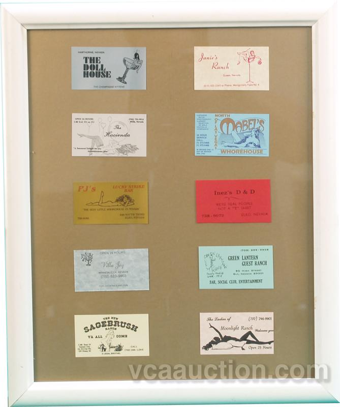 10 Nevada Brothel Business Cards In Frame - 22\