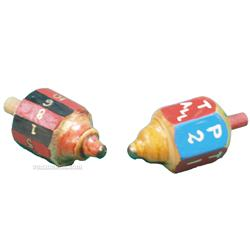 Wooden Tops - Includes two hand-carved, hand-painted, w