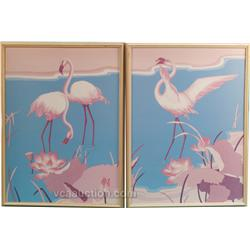 Lot Of 2: Pair Of Flamingo Hilton Framed Flamingo Print