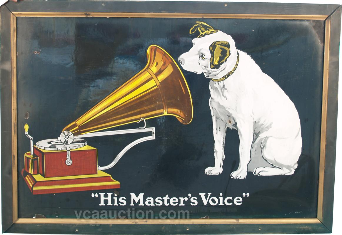 """Nipper"" Porcelain Sign ""His Master's Voice"" In Wood Fr"
