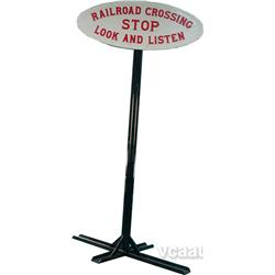Cast-Iron Railroad Crossing Sign w/ Pole Stand, Sign -