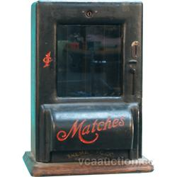 1 Cent Old Wooden & Cast-Iron Match Vending Machine By