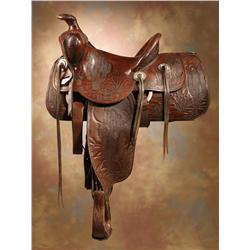 Pictorial Southwest Cactus Saddle with Keyston Bros Conchos