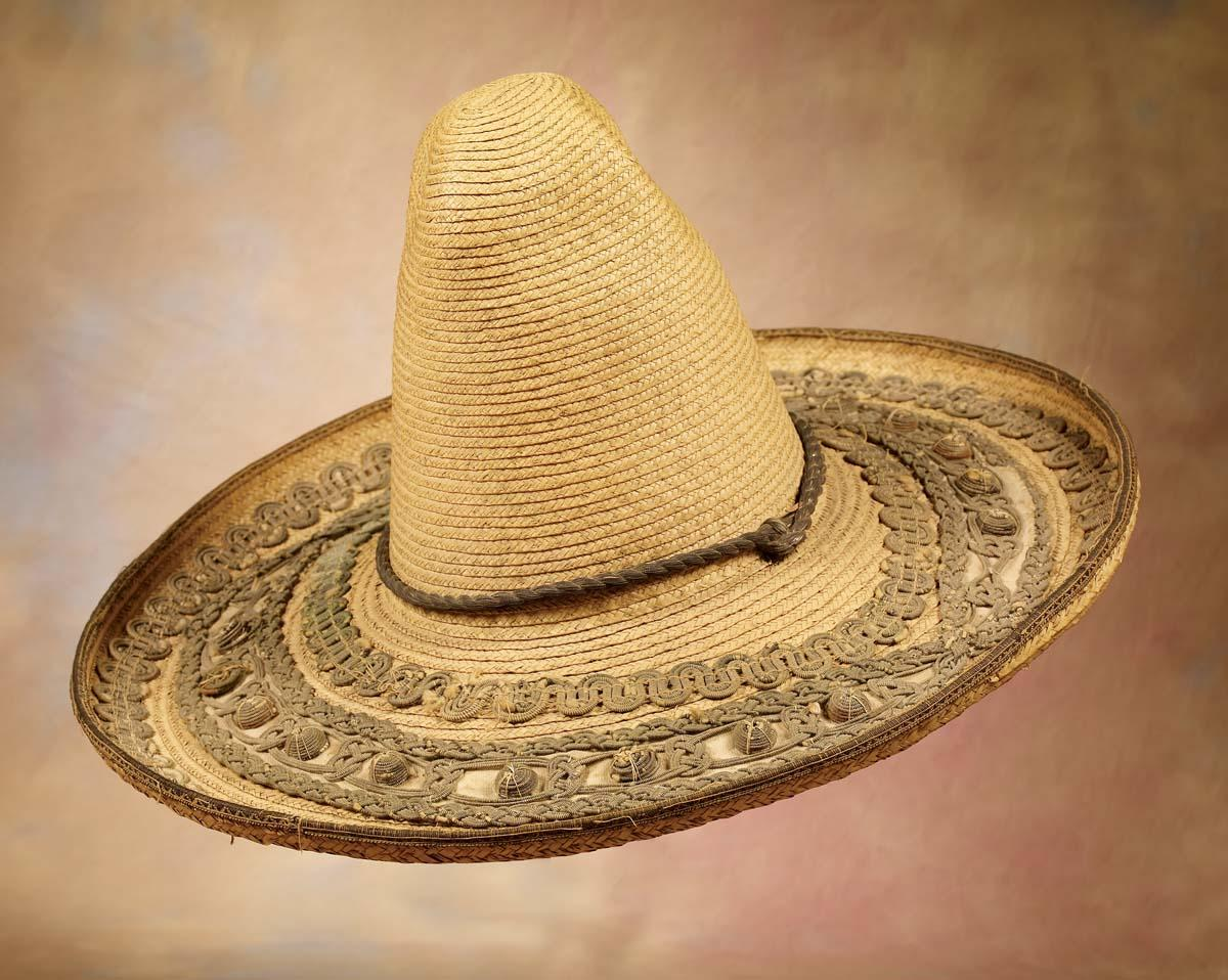 Pair of 19th C Mexican Straw Sombreros. Loading zoom 0144b46100a9