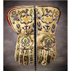 Santee Sioux Pictorial Beaded Gauntlets