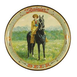 Rare Rainier Beer Tin Serving Advertising Tray