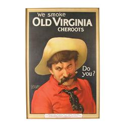 Old Virginia Cheroots Paper Advertising Sign